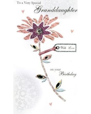 Second Nature Granddaughter Pink Flower Birthday Card
