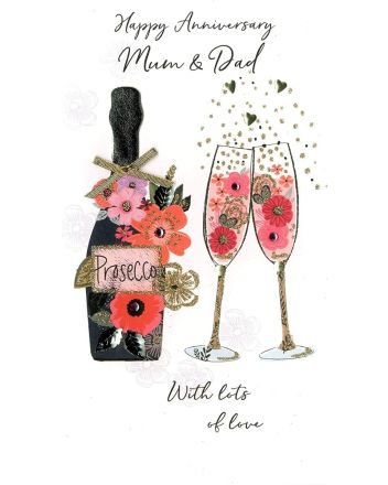Second Nature Champagne Mum and Dad Anniversary Card