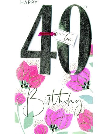 Second Nature Champagne Flowers 40th Birthday Card