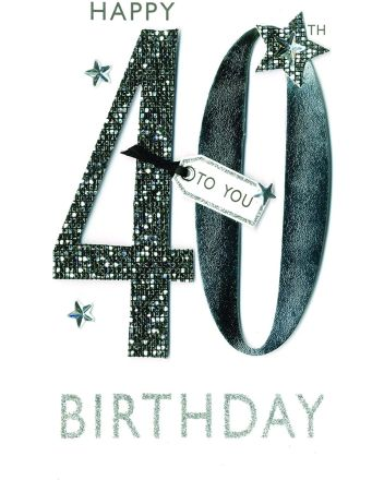 Second Nature Champagne Stars 40th Birthday Card