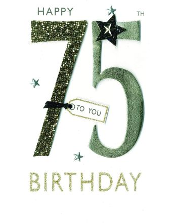 Second Nature Champagne Happy 75th Birthday Card