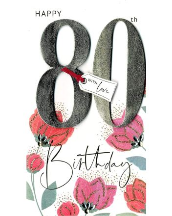 Second Nature Champagne Happy 80th Birthday Card