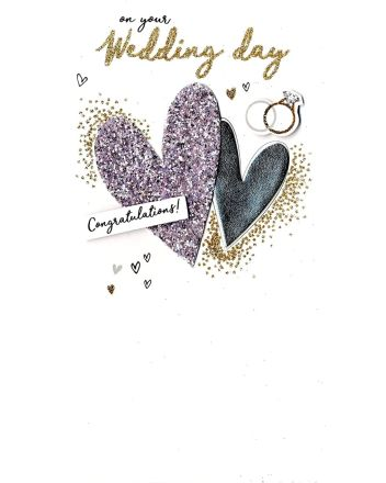 Second Nature Champagne Hearts Wedding Day Card