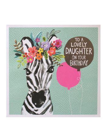 Paper Salad Jamboree Daughter Zebra Birthday Card