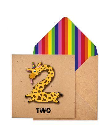 Tache Giraffe 2nd Birthday Card