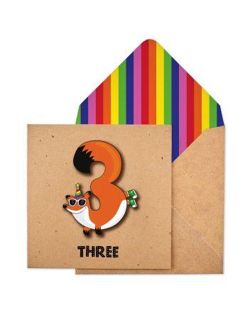 Tache Fox 3rd Birthday Card