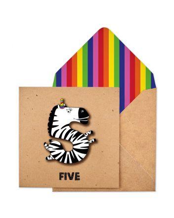 Tache Zebra 5th Birthday Card