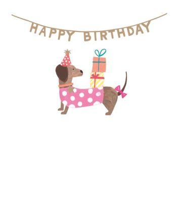 Paper Salad Lucky Star Dachshund Birthday Card
