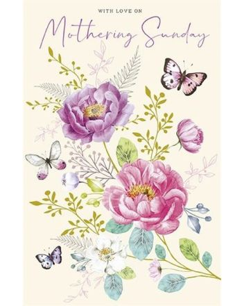 Paper Rose Mothering Sunday Butterflies Mothers Day Card