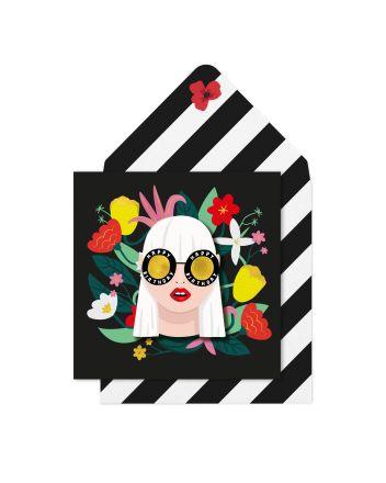 Tache Girl In Glasses Birthday Card