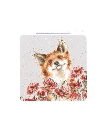 Wrendale Poppy Field Fox Compact Mirror