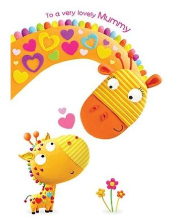 Paper Rose Lovely Mummy Giraffe Mothers Day Card