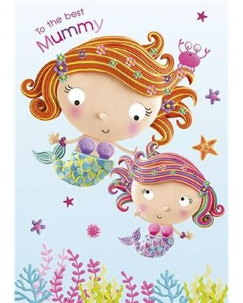 Paper Rose Best Mummy Mermaid Mothers Day Card