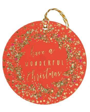 Glick 6 Luxury Red Wreath Christmas Gift Tags