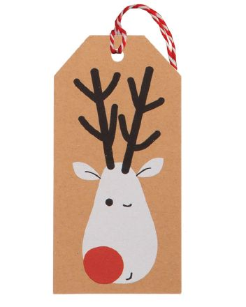 Glick 6 Kraft Rudolph Wink Christmas Gift Tags