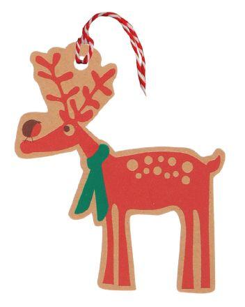 Glick 6 Kraft Reindeer Christmas Gift Tags