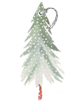 Glick 6 Snowy Tree Christmas Gift Tags