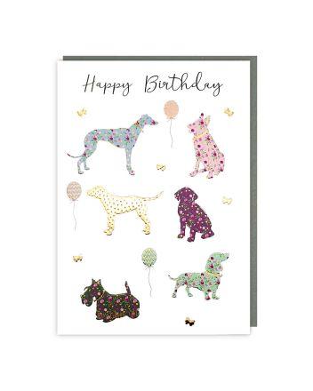 Tracks Sparkle Dogs Happy Birthday Card