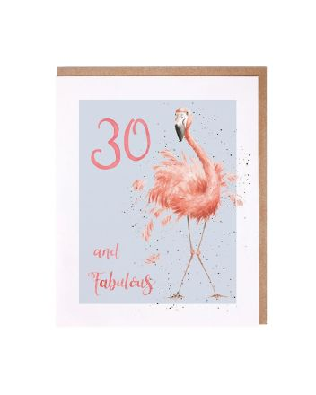Wrendale Flamingo 30th Birthday Card