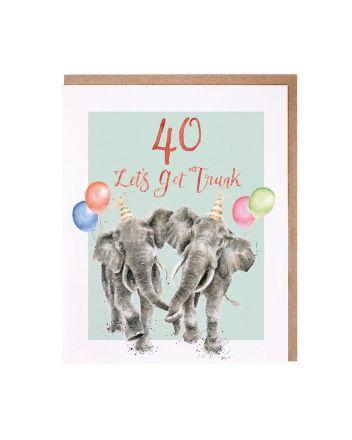 Wrendale Elephants 40th Birthday Card