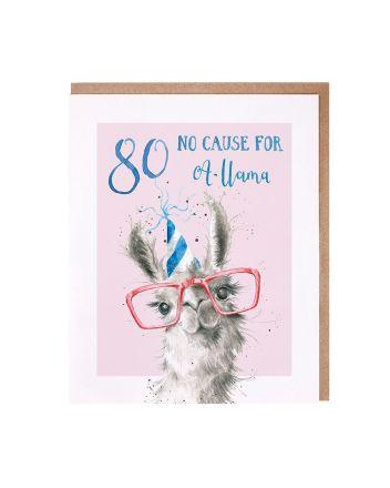 Wrendale Llama 80th Birthday Card