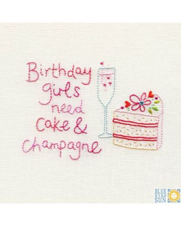 Blue Eyed Sun Cake and Champagne Birthday Card