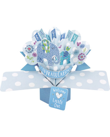 Second Nature Pop Up New Baby Boy Card