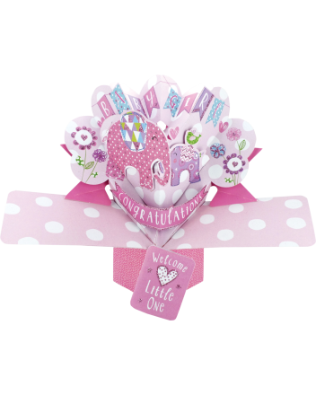 Second Nature Pop Up New Baby Girl Card