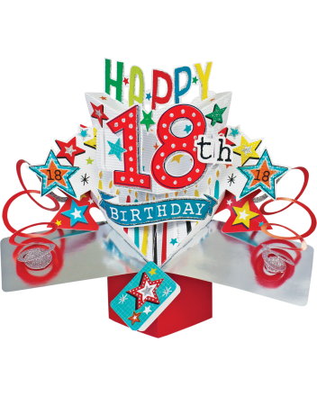 Second Nature Pop Up Happy 18th Birthday Card
