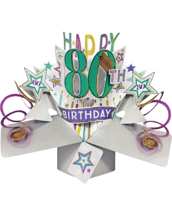 Second Nature Pop Up Happy 80th Birthday Card