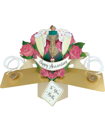 Second Nature Pop Up Champagne and Roses Anniversary Card