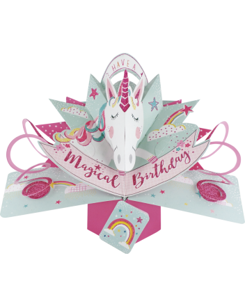 Second Nature Pop Up Unicorn Birthday Card