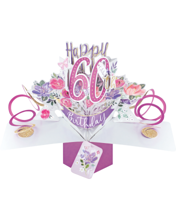 Second Nature Pop Up Flowers 60th Birthday Card