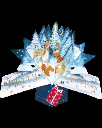 Second Nature Pop Up Woodland Animals Christmas Card