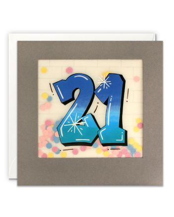 Paper Shakies Age 21 Graffiti Birthday Card
