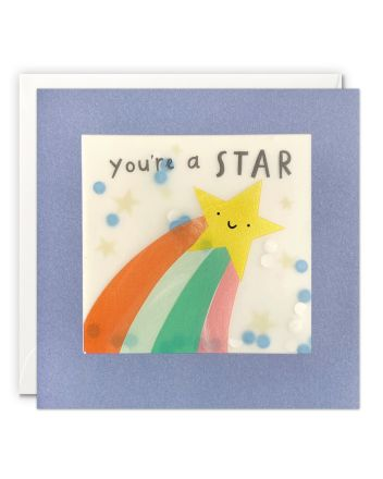 Paper Shakies Rainbow Shooting Star Greeting Card