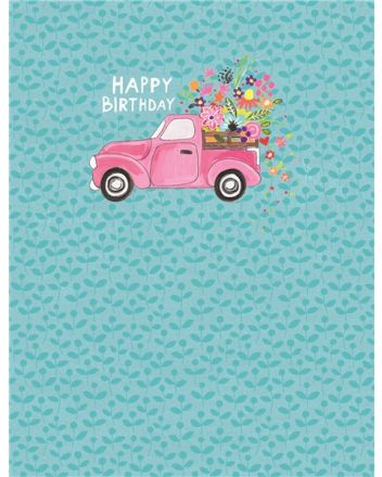 Paper Salad Flower Truck Happy Birthday Card