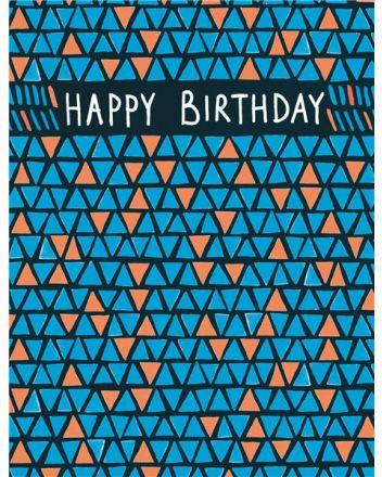 Paper Salad Triangle Pattern Happy Birthday Card