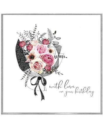 Cinnamon Aitch Piccadilly Flower Bouquet Birthday Card