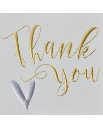Wendy Jones Blackett Silver Heart Thank You Card