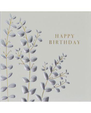 Wendy Jones Blackett Silver Leaves Birthday Card