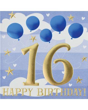 Wendy Jones Blackett Blue Balloons 16th Birthday Card