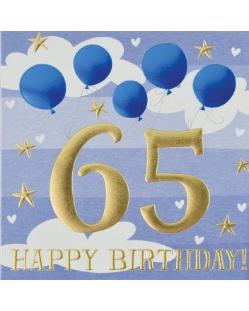Wendy Jones Blackett Blue Balloons 65th Birthday Card