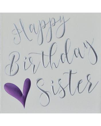 Wendy Jones Blackett Purple Heart Sister Birthday Card