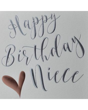 Wendy Jones Blackett Rose Gold Heart Niece Birthday Card