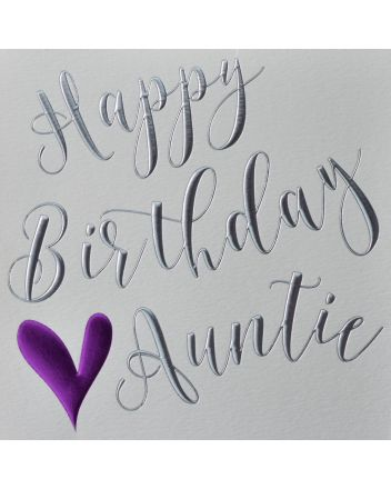 Wendy Jones Blackett Purple Heart Auntie Birthday Card