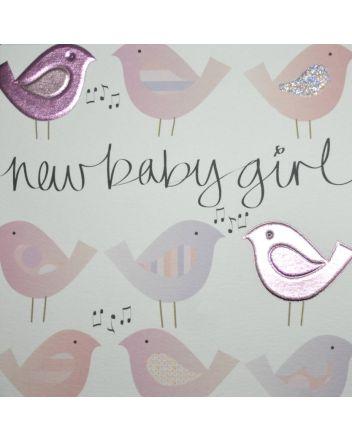 Wendy Jones Blackett Pink Birds New Baby Girl Card