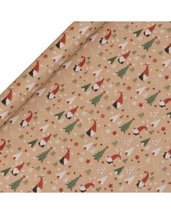 Glick Gonk The Gnome 3 x Christmas Roll Wrap 3m x 50cm