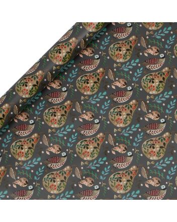 Glick Partridge and Pear 3 x Christmas Roll Wrap 3m x 50cm