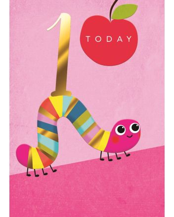 Second Nature Caterpillar Pink Happy 1st Birthday Card